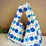 エコバッグ♡お散歩バッグ♡コンビニバッグ♡青い花柄の画像