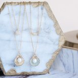 【14KGF】Gold/Blue Pearl Shell Necklaceの画像