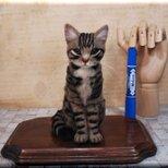 羊毛フェルト 猫 キジトラ猫 キジトラさん キジ猫 ねこ ネコ 猫フィギュアの画像