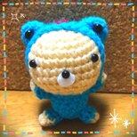*カエルの着ぐるみクマさんの編みぐるみ【ブルー】*の画像