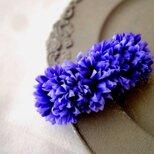 夏の花のバレッタ ■ 矢車菊 ■ 濃い紫色の画像