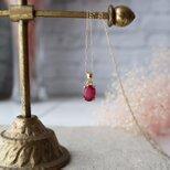 【K10】大粒!宝石質ルビーの一粒ネックレス(オーバルファセットカット)*7月誕生石の画像