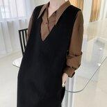 【全14色】【ウール100%】 リバーシブル生地 手縫い ベストワンピース☆オーダーメイド可の画像