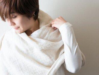 Organic Cotton&linen Wガーゼ大判ストールの画像