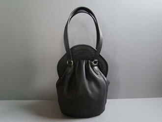 stitch hand bag (black)の画像