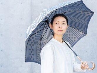 【晴雨兼用 ジャンプ傘】 kirie -ドットとストライプ- アッシュブルーの画像