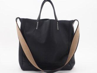 goatleather shoulder&hand bag(黒)/山羊革/S&H001の画像