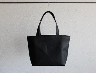 【受注製作】レザートートバッグ black <S横長>の画像