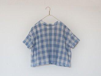 シャーリングシンプルTシャツブラウス ブルーの画像