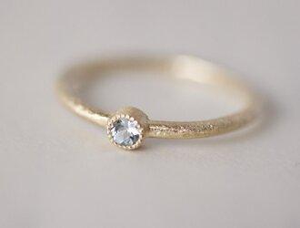 K18 Aquamarine birthstone ring [R050K18AQ]の画像