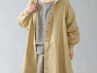 【wafu】中厚リネンパーカーワンピース 2wey コートにも ロング丈/木蘭色(もくらんじき) a029a-mrn2の画像