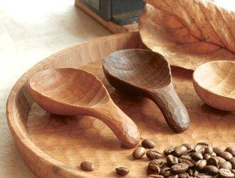 木彫りのコーヒーメジャーの画像