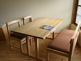 棚付きダイニングテーブルW150 国産ひのき無垢材 の画像