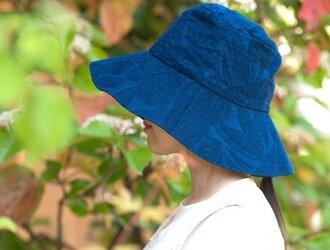 Organic Cotton 日よけ帽子【藍染/ボタニカル織り柄】の画像