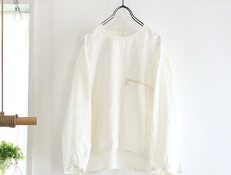 french linen chest pocket top (natural)の画像