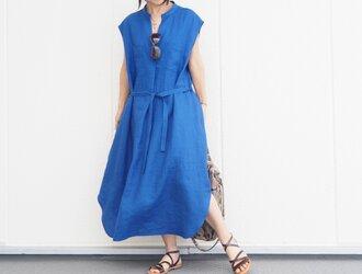 リネンVフレンチ袖ワンピ ブルー  No.167-09の画像