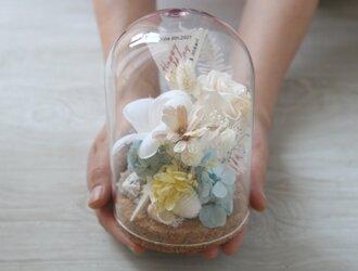 [誕生日プレゼント・結婚祝い・両親贈呈品]  ガラスドーム プルメリア&スターフィッシュの画像