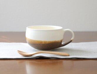 白茶の釉薬 陶器のほっこりスープカップ * 1の画像