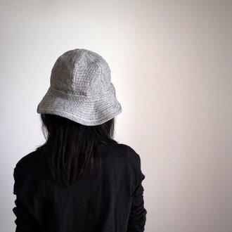 ●限定特別価格● リネン 千鳥格子 【 ブラック と 生成り】 まぁるい 帽子