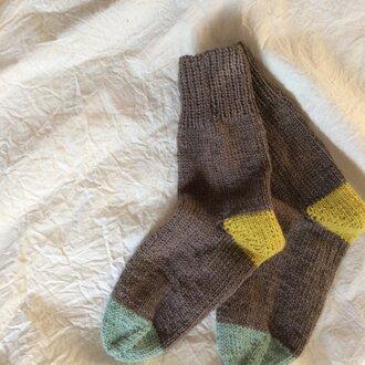 手編みの靴下  ナチュラル ブラウン