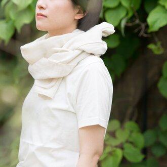 Organic Cotton&linen Wガーゼ夏のマフラー【37㎝幅】