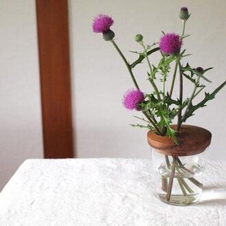 木とガラスの花入れ チーク材2