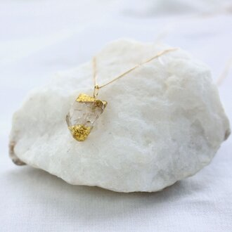 Rough Rock White Topaz Necklace w/ JapaneseLacquer, GoldLeaf