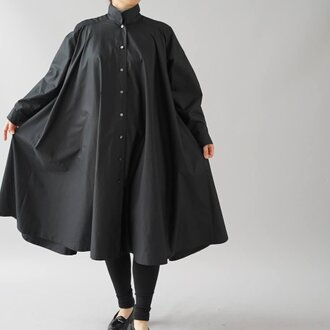 【wafu+】フレアワンピース  2way コットン シャツ スタンドカラー 長袖/ブラック b32-27