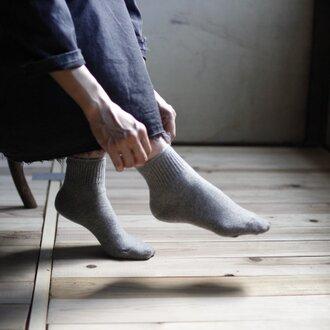 ハイブリッドメリノウール靴下/杢グレー