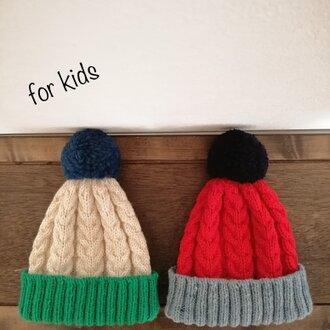 [Kids]ケーブル&ポンポンニット帽
