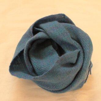 【カシミヤ 手紡ぎ・手織り】 マフラー 瑠璃色 ブルー 青系