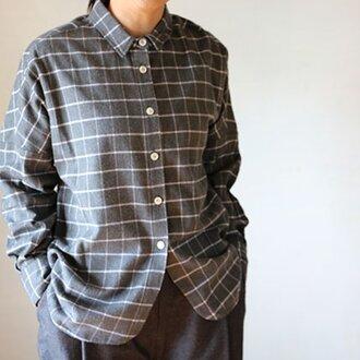 ドロップシャツ:起毛格子グレ