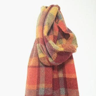 手織りのマフラー ラムウール オレンジチェック