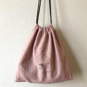 ピンク 猫を抱いた女の子 巾着 L