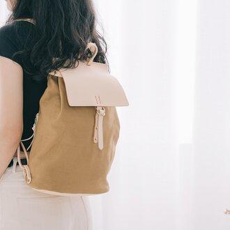 「帆布×革の組み合わせ」手作りのリュック レディース バッグ かわいい フラップリュックサックおしゃれ リュック