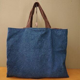 「再販」もち手が柿渋染め・藍染め帆布バッグ