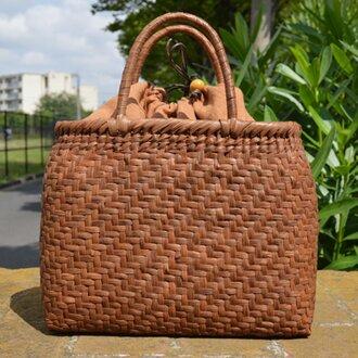 山葡萄(やまぶどう)籠バッグ | 網代編み | 巾着と中布付き | (約)幅31cmx高さ25cmx奥行12cm