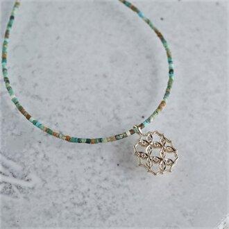 4 petal flower necklace Ⅲ [P066K10YG(NS)]