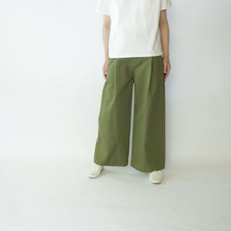 twill cotton linen/wide pants/khaki