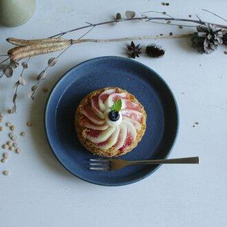 台形 プレート皿 碧(あお) 陶器 ケーキ皿