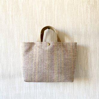 裂き織りのバッグ Mサイズ サンドベージュ