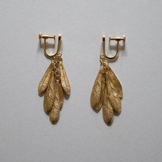 small leaves earring K18goldplate
