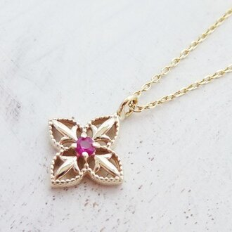 【Refined beauty】✧K10YG✧ルビー・Lily(ユリの花)ネックレス