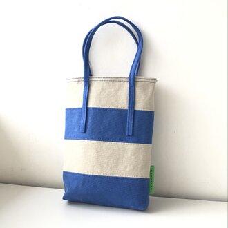 miniバッグ/ブルー×グレージュ