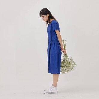 Mariam コットン ウエスト タイロープ ドレス グリーン
