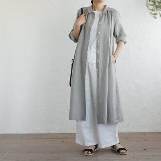 『リネン 2way 長袖シャツワンピース』 前開きギャザー 羽織り (グレー)