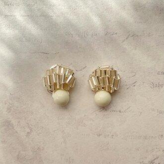 ヴェネチア製クリアビーズのイヤリング