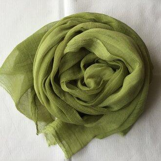 草木染め コットンショール コブナグサ 緑