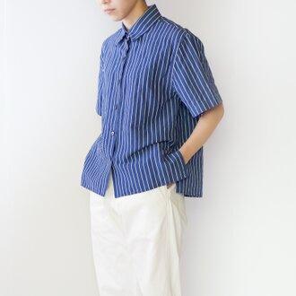 original cotton linen/ short sleeve shirt/blue