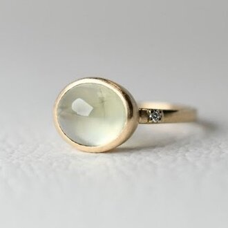 K10 プレナイトとダイヤモンドのリング 【1点もの】